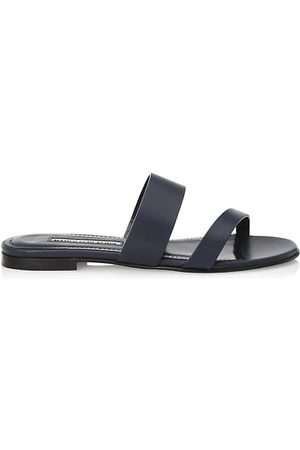 Manolo Blahnik Serrato Capri Leather Slide Sandals