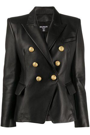 Balmain Women Blazers - Buttoned leather jacket