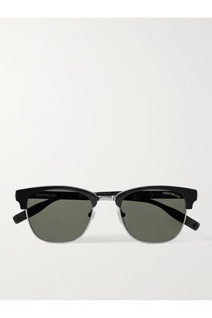 Mont Blanc Men Sunglasses - D-Frame Acetate and Silver-Tone Sunglasses