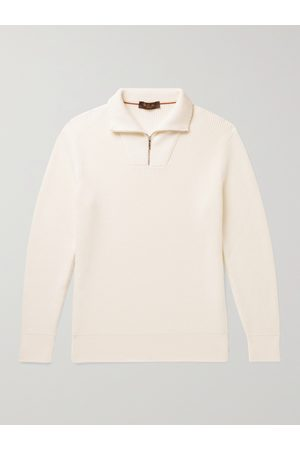 Loro Piana Men Jumpers - Ribbed Cotton and Silk-Blend Half-Zip Sweater