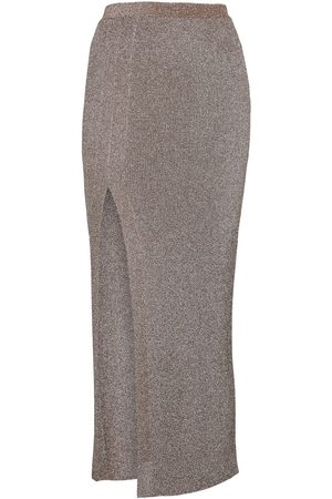 Missoni Metallic ribbed-knit midi skirt