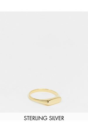 ASOS Sterling silver signet ring with slim design with 14k plate