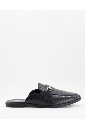 ASOS Backless mule loafer in croc faux leather