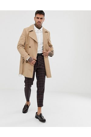 ASOS Men Trench Coats - Shower resistant double breasted trench coat in stone-Neutral