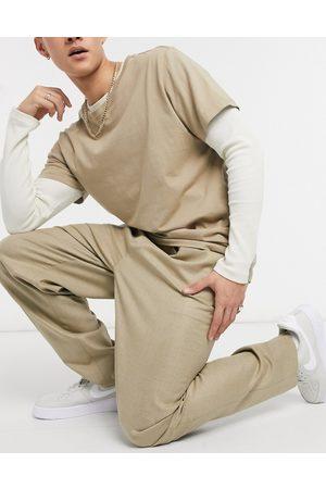 ASOS High waist slim trouser in camel-Neutral