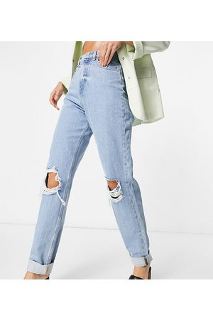 ASOS Women Boyfriend - ASOS DESIGN Tall high rise 'slouchy' mom jeans in lightwash with rips