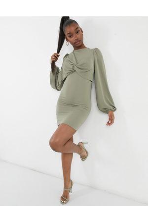 ASOS Women Evening Dresses - Twist front mini dress in pale khaki