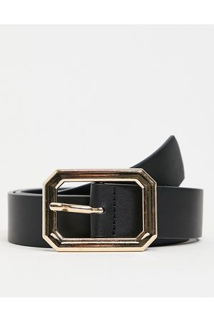 ASOS Men Belts - Slim belt in faux leather with gold hexagon buckle