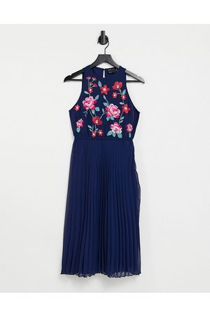 ASOS Pleated midi dress with embroidery in navy
