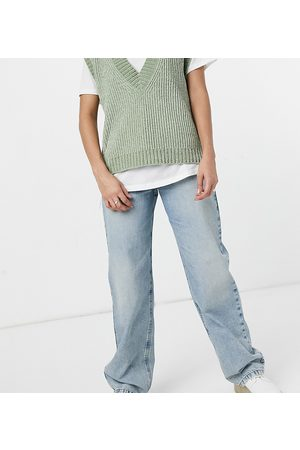 COLLUSION Women Boyfriend - X014 90s baggy extreme dad jeans in vintage wash with thigh rip