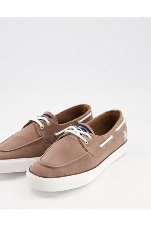 Original Penguin Canvas mix casual boat shoes in taupe-Neutral