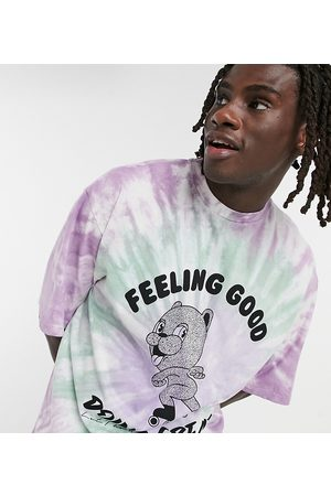COLLUSION Oversized t-shirt with bear print in tie dye-Multi