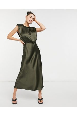 ASOS Sleeveless satin midi dress in khaki