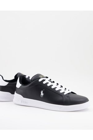 Polo Ralph Lauren Heritage court perforated leather trainer in with white logo
