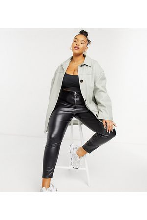 ASOS ASOS DESIGN Curve oversized faux leather quilt lined shacket in grey