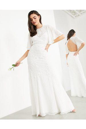 ASOS Gabriella vintage embellished wedding dress with flutter sleeve