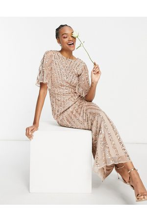 Maya Women Printed Dresses - Flutter sleeve all over patterned sequin maxi dress in taupe blush