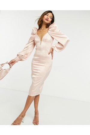 ASOS Long sleeve quilted satin plunge wired bodycon midi dress in pale