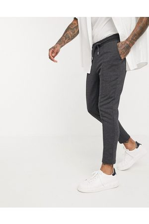 ASOS Organic smart skinny joggers with pin tuck in charcoal marl