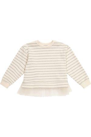 Brunello Cucinelli Tulle-trimmed striped sweater
