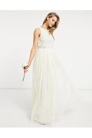 Maya Bridal 2 in 1 maxi tulle dress with tonal delicate sequin in ecru-Cream