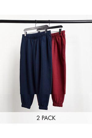 ASOS DESIGN Oversized joggers in navy & burgundy 2 pack-Multi