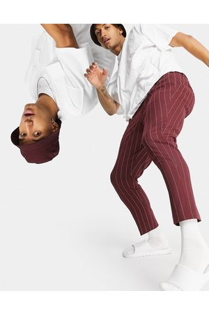 ASOS Men Chinos - Tapered smart trousers in burgundy stripe