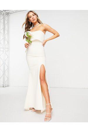 Jarlo Bandeau overlay maxi dress with thigh split in ecru