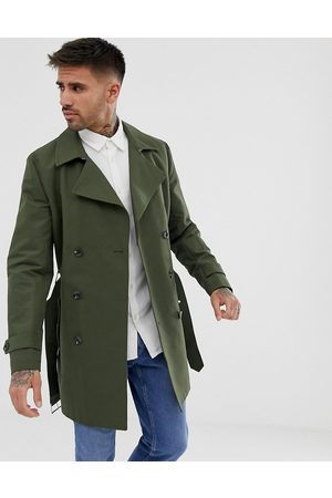 ASOS Shower resistant double breasted trench coat in khaki