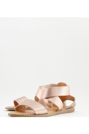 Simply Be Extra wide fit flat sandal with elastic straps in rose