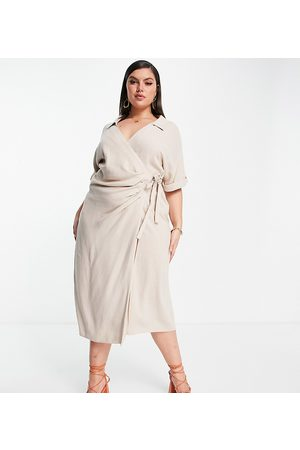 ASOS ASOS DESIGN Curve linen wrap midi dress in stone-Neutral