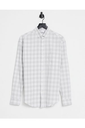 ASOS 90s oversized shirt gingham check in and white