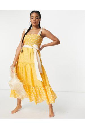 River Island Polka dot shirred midi beach dress in