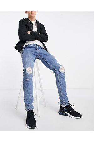 Only & Sons Stretch slim fit sweat jeans with rips in