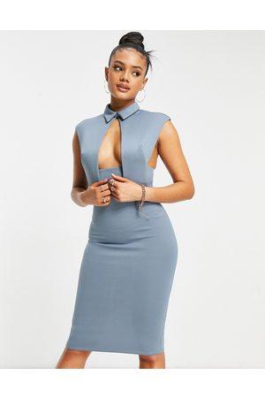 ASOS Women Pencil Dresses - Waistcoat plunge midi pencil dress in blue-Multi