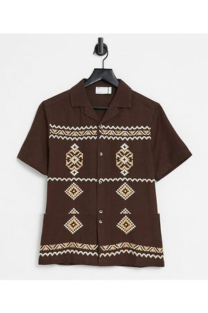 ASOS Cotton regular revere shirt in with embroidery detail