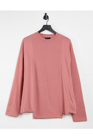 ASOS Long sleeve oversized contrast t-shirt in blush pink