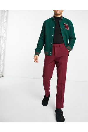 ASOS Men Formal Pants - Wool mix slim suit trousers in burgundy twill