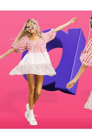 ASOS Mixed gingham and floral tiered mini smock dress-Multi