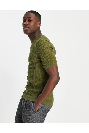 ASOS Muscle fit cable knit t-shirt in khaki