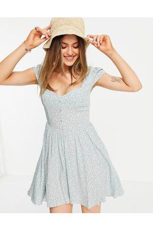ASOS Women Casual Dresses - 90s mini tea dress in sage floral print-Multi