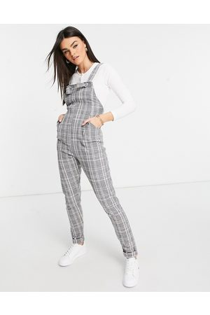 ASOS Jersey casual dungaree in grey check boucle-Multi