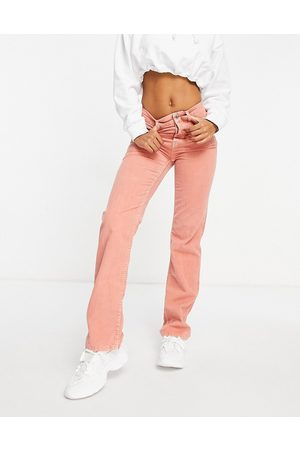 ASOS Women Straight - Mid rise '90's' straight leg jeans in coral waffle cord