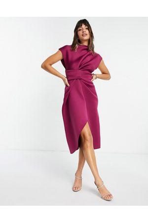 ASOS High neck tuck midi pencil dress in raspberry