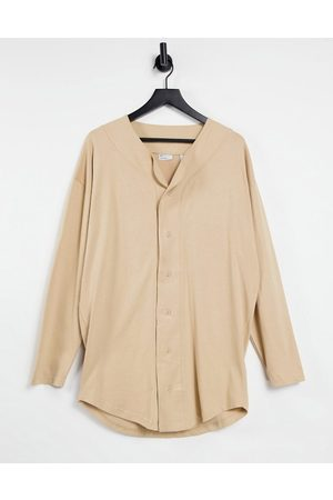 ASOS Oversize long sleeve baseball shirt in -Neutral