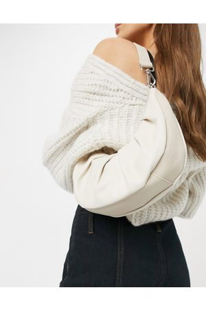 ASOS Ruched croissant shoulder bag with lizard panel in cream