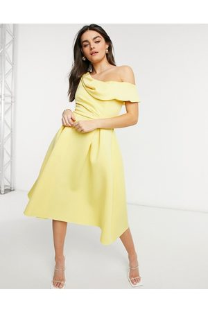ASOS Drape fallen shoulder midi skater prom dress in lemon