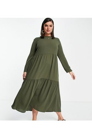 ASOS ASOS DESIGN Curve long sleeve tiered smock midi dress in khaki