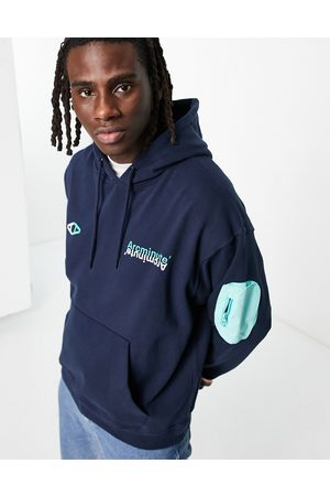 The Arcminute Men Sweatshirts - Arcminute oversized hoodie in navy with patch pocket