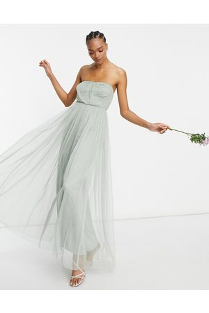 ANAYA With Love Bridesmaid tulle bandeau maxi dress in sage